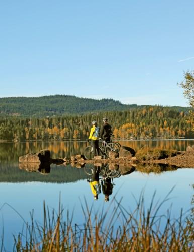 Syklister ved vannet om høsten.